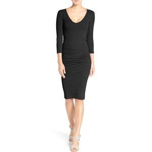 James Perse V-Neck Ruched Skinny Dress In Black